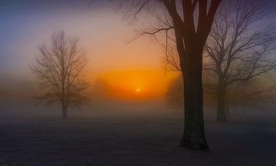 The sunset woven of soft lights